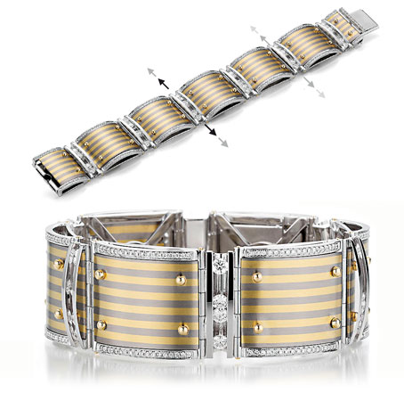 The Golden Stripes - Armband mit beweglichen Diamanten